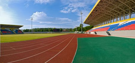 pano: pano of stadium with nobody. summer daylight Stock Photo