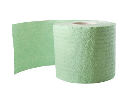 green toilet paper isolated on white photo