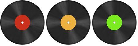 three vinyl discs on white illustration Stock Illustration - 4120570