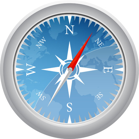 round blue compass with map vector illustration Vector
