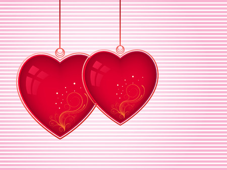 two hearts over stripped background vector illustration Vector