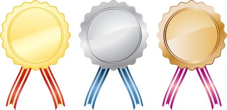 three medals with ribbons - gold, silver and bronze Illustration