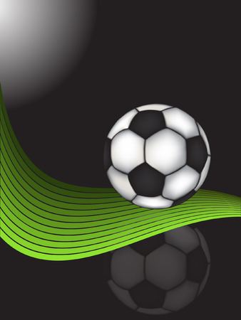 traditional soccer ball over green wave vector