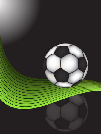 traditionelle Fu�ball Ball �ber gr�ne Wellenvektor