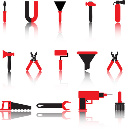 tools vector icons set. black and red Vector