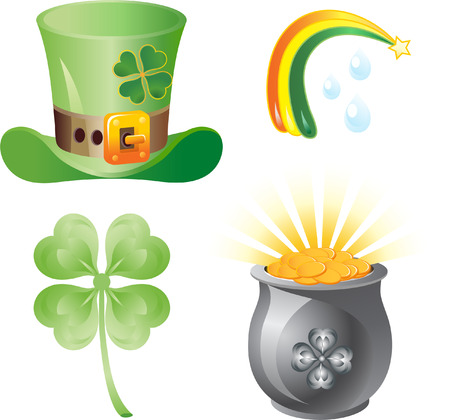st. patrick theme vector icons. hat, pot, clover and rainbow Vector