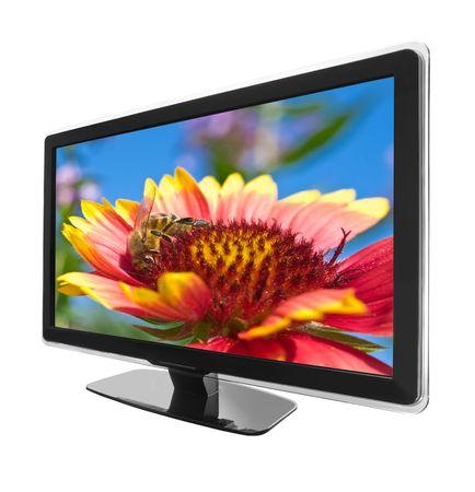 tv grand écran d'affichage avec une photo isolé sur blanc Banque d'images