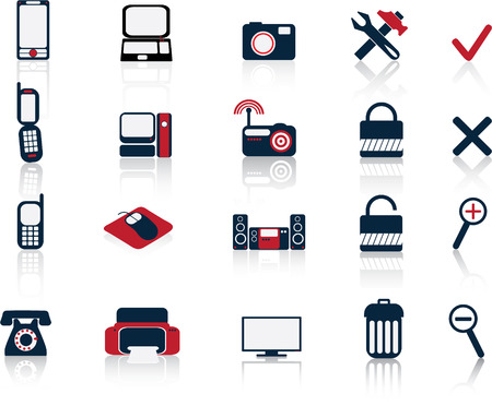 communication and hitech icons vector set