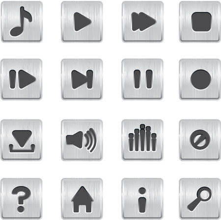 playback: metallic buttons playback vector icons set