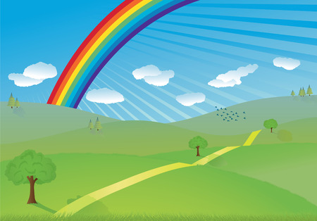 vector landscape with green hills and rainbow Vector