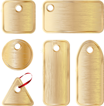 vector metallic empty tags different forms set  Stock Vector - 4771454