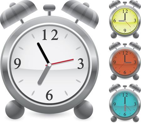 Wecker Vektor Icon Set verschiedenen Zeiten Farben Illustration