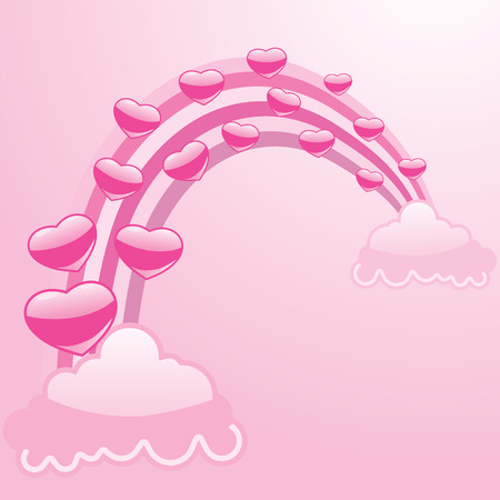 pink hearts rainbow and clouds vector abstract Illustration
