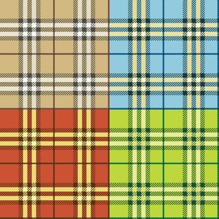 seamless checked plaid background vector set Vector