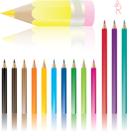 color pencils with shadows vector set