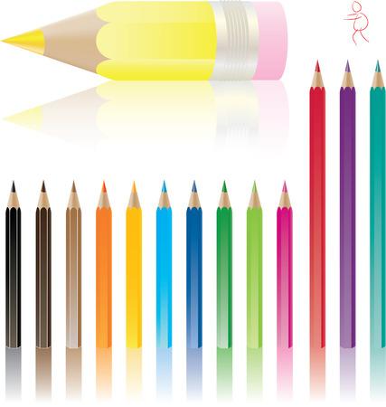 color pencils with shadows vector set