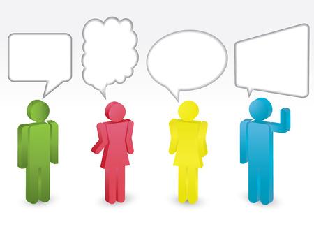 Cartoon Menschen Kommunikation Vector Set Illustration
