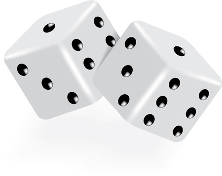 two dice on white vector