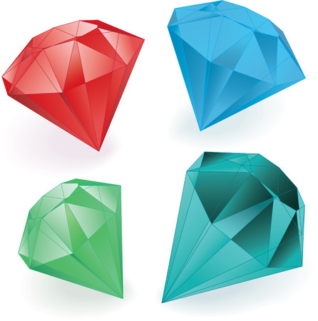 set of colored gems over white vector Vector