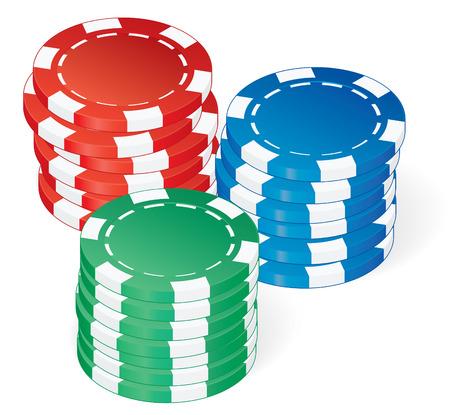 three poker chips stacks over white vector Illustration
