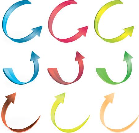 multicolor 3d arrows vetor set