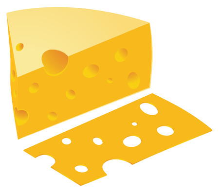 gouda: piece of cheese and slice vector