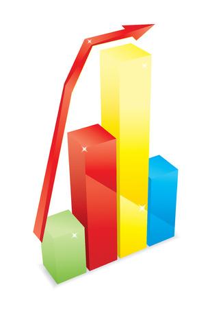 color diagram bars with arrow vector Vector