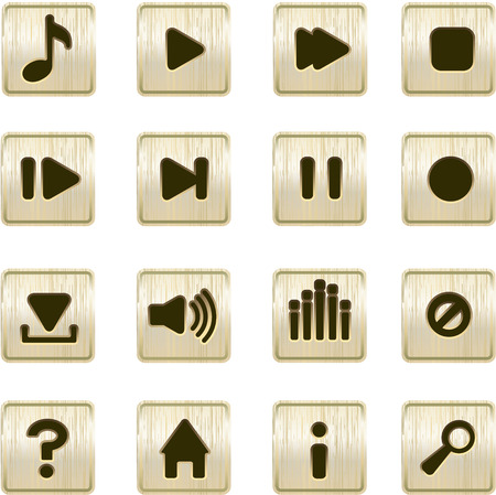 playback: musical player metallic icons vector set