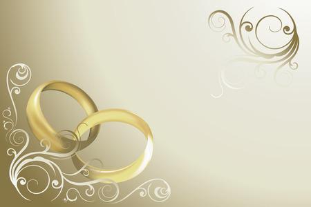Carte de mariage avec des anneaux et swirles vecteur