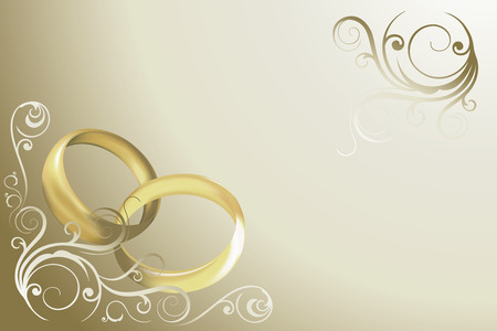 wedding card with rings and swirles vector Vector
