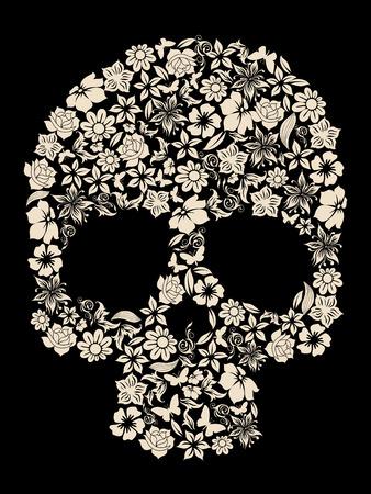 calaveras: flores adornados vector cr�neo humano Vectores