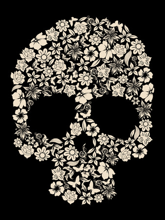 flowers ornated human skull vector Illustration