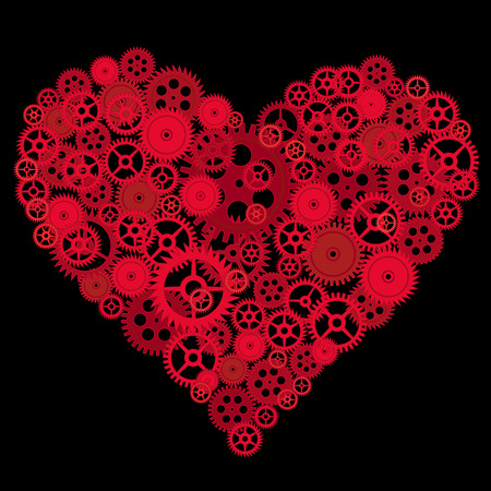 red heart made of gear whells vector
