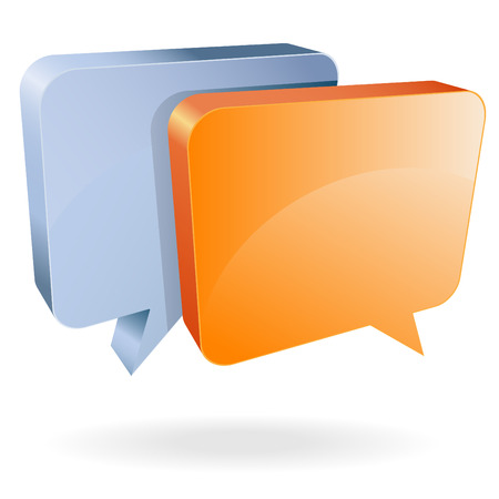 talking bubbles cartoon vector orange steel blue
