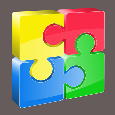 colorful 3d puzzle vector image Vector