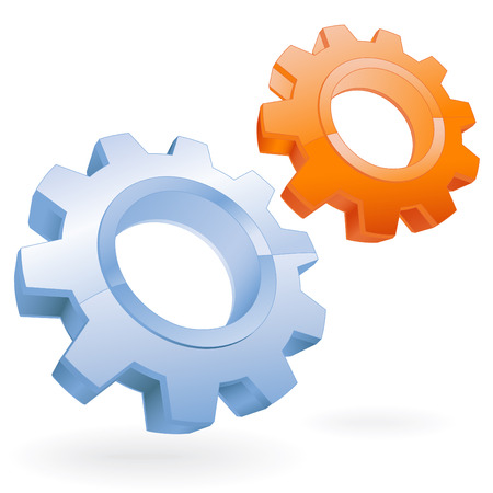 blue and orange gears setting vector icon