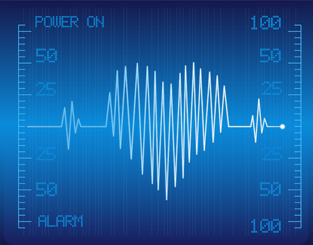 medical cardio monitor with heart vector image Illustration