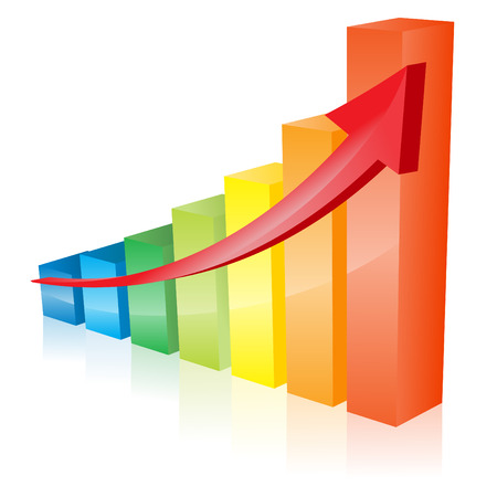 rainbow color graph diagram bars arrow vector Illustration