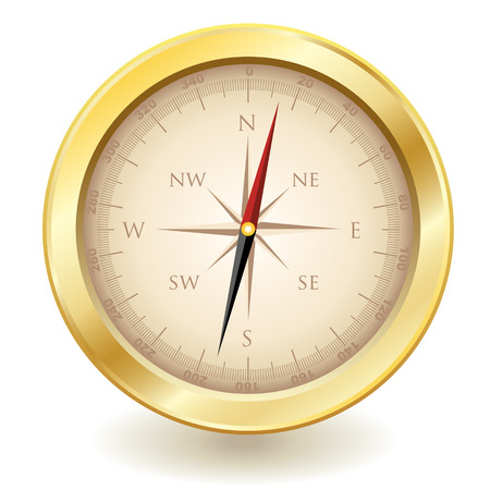 golden color: isolated traditional golden color compass