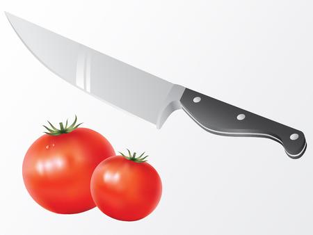 set van keukenmes en tomaten