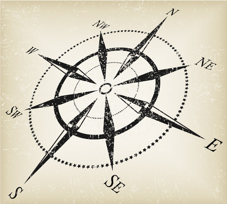compass rose: grunge black over brown compass vector Illustration