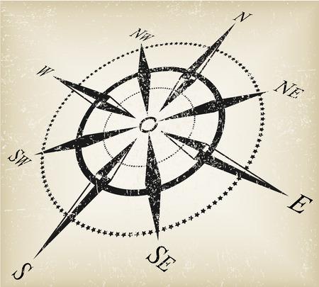 Grunge Schwarz �ber braune Kompass Vektor Illustration