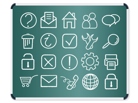 printer drawing: green chalkboard with computer icons vector set