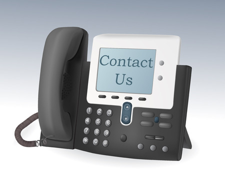 call center office: cisco phone with display vector icon contact us Illustration