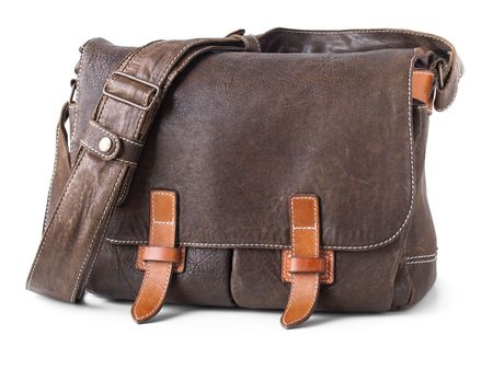 buckle: brown leather bag isolated on white Stock Photo
