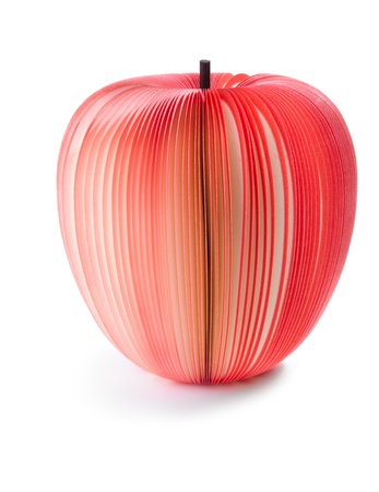 paper notes like apple fruit isolated over white Stock Photo