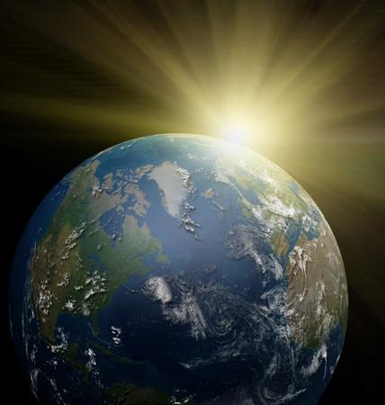 Sunrise over Earth planet.