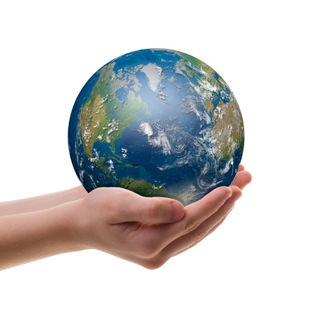 hand holding world: Shining Earth in childs hands isolated over white.