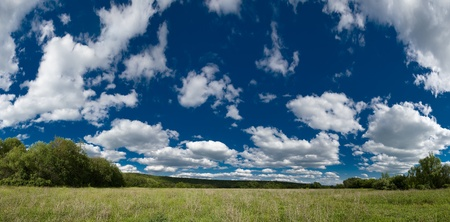 SUMMER DAYLIGHT LANDSCAPE WITH GREEN MEADOW blue sky and clouds photo