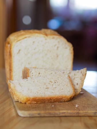 home made white bread on desk  shallow dof